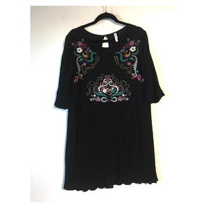 Xhilaration XL Embroidered Bell Sleeve Swing Dress